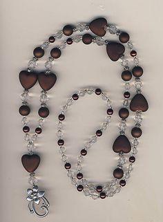 Chocolate Hearts & Crystal Beaded Lanyard Badge ID Holder | eBay