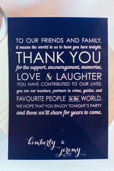 Wedding Thank You Card in Navy Blue and White