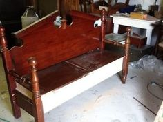 Bench made from a queen bed frame
