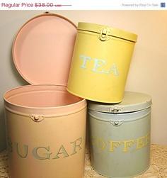 Vintage Kitchen Canister Set Shabby Cottage Pastel Colors