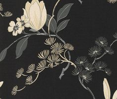 chinees japans bloesem bloemen oosters motief zwart behang 822526 Wal Paper, Chinese Fabric, Asian Interior, Chinoiserie Wallpaper, Fashion Forecasting, Japan Design, Daydream, Aqua, Sculpture