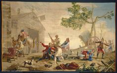 After Francisco de GOYA (y Lucientes) (Fuendetodos, 1746 - Bordeaux, 1828)  Fight at the New Inn  Last quarter of 18th century  Madrid  Tapestry, wool and silk  H. 2.85 m; W. 4.79 m  Franco-Spanish artistic exchange, 1941    Louvre Museum   Paris