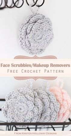Crochet cute blossom-shaped face scrubbies to wash your face and remove makeup with this free pattern. These reusable cotton crochet flower face scrubbies are quick and easy to make, and a great DIY gift project idea to crochet for mom Mother's Day. Diy Crochet Gifts, Crochet Unique, Crochet Simple, Easy Crochet Projects, Yarn Projects, Crochet Home, Crochet Crafts, Knit Crochet, Crochet Ideas To Sell