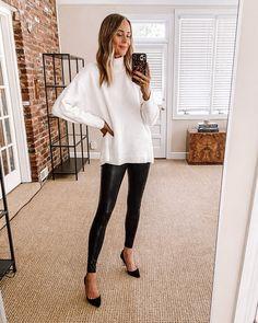 Fashion Jackson Nordstrom Anniversary Sale Free People White Tunic Sweater Commando Leggings Black Pumps