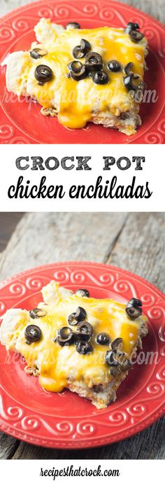 Crock Pot Chicken Enchiladas - A family favorite! Easy crock pot recipe for a  Mexican inspired casserole.