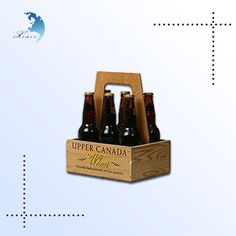 Custom wooden beer holder,wooden serving wine tray with handles