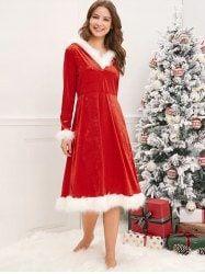 Rosegal / Christmas Mother and Daughter Velvet Dress Santa Dress, Velvet Midi Dress, Party Mode, Blush Wedding Invitations, Queen, Types Of Dresses, Party Fashion, Fashion 2018, Spaghetti Strap Dresses