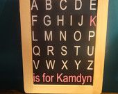 Chalkboard with ABC'S and baby name decal. by GaGaGallery on Etsy