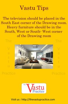 The Television Should be placed in the South East corner of the Drawing room. Heavy furniture should be in the South, West or South-West corner of the Drawing room. Indian House Plans, Best House Plans, Kitchen Vastu, West Facing House, Drawing Room Interior, Drawing Rooms, How To Feng Shui Your Home, Science Room, Vastu Shastra