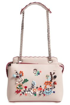 small dotcom leather shoulder bag by Fendi. Embroidered flowers, leather  buds and signature cone 4710cab800