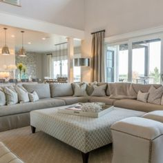 Neutral Living room Sophisticated but comfy living room featuring RH Belgian Linen slipcovered sectional custom ottoman in Thibaut geometric Gabby Decor ottomans and wool. Neutral Living Room Furniture, Living Room Furniture Arrangement, Furniture Layout, Living Room Sofa, Living Spaces, Rustic Furniture, Modern Furniture, Antique Furniture, Living Area
