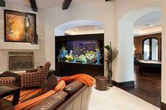 Living room design with a large fish aquarium, interior decorating Aquarium Design, Aquarium Mural, Home Aquarium, Aquarium Ideas, Big Aquarium, Aquariums Super, Amazing Aquariums, Home Interior, Modern Interior Design