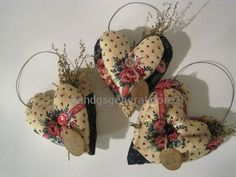 Primitive Grungy Hearts - 3 Shabby Valentines Day Heart Ornies with Sweet Annie #NaivePrimitive #Seller