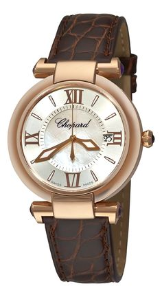 Chopard Women's 384221-5001 Imperiale Mother-Of-Pearl Rose Gold Watch. Sapphire crystal - the triumph of modern science - most scratch resistant material on the market. Quartz movement with analog display and sapphire crystal dial window. Date calendar water-resistant. Brown leather stainless steel case with silver-tone dial. Water resistant to 5 ATM / 50 meters / 165 feet : suitable for use around household sinks playing sports and swimming in shallow water but not bathing snorkeling or...
