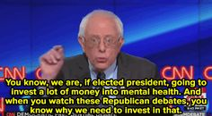 wilwheaton:  micdotcom:  Not everyone was pleased with Bernie Sanders mental health/Republicans joke at the debate Sunday night. One tweet pointed out how Sanders was shooting himself in the foot with the comment.  I live with and struggle with mental health issues every day.  Im grateful for my medication Im grateful for my therapist.  Im grateful that I can see a joke for what it is and not wind myself up into a big ball of righteous outrage.  Goddammit. Goddammit Bernie you just lost the…