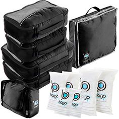 3e314ead8b Travel Organizer Full Pack Set Packing Cubes Toiletry Bag Shoes Bag ZipBags  BLACK   Want to