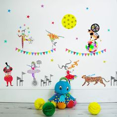 Circus of Wonders - Sas and Yosh - Wall Stickers - Wall Decoration - Wall Art - Home decor - Wall Decor - Nursery Decor Circus Characters, Nursery Wall Decor, Wall Stickers, Kids Rugs, Wall Art, Handmade Gifts, Prints, Inspiration, Etsy