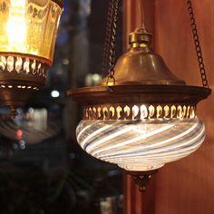 キリム/ガラタバザール - アンティークガラスのトルコランプ・マーブル/クリアーブルー【灯具別売り】