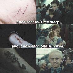 """""""Ogni cicatrice racconta la storia di come ognuno di noi è sopravvissuto"""" - Harry / Harmione / Draco"""