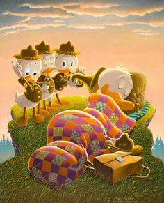 Carl Barks Rude Awakening Painting Original Art (1974)