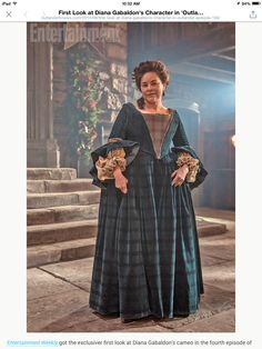 Diana Gabaldon in character on Outlander set