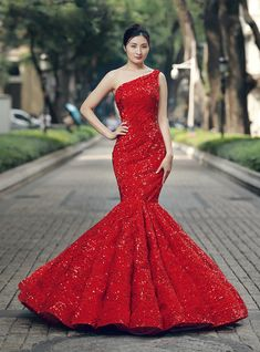 3c63a72ba Mermaid Red Sequins One Shoulder Floor Length Wedding Dress. Evening ...