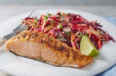 This delicious jerk salmon is served with a tangy mango slaw and can be cooked in less than 10 minutes. See more BBQ recipes at Tesco Real Food.