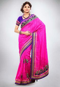 Utsav Fashion : pink-art-jute-jacquard-saree-with-blouse