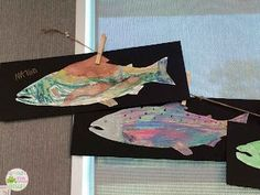 salmon art using metallic watercolors Teacher Bags, Your Teacher, Teaching Tools, Watercolors, Salmon, Moose Art, Metallic, School Stuff, Fun