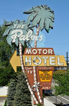 The Palms vintage neon sign in Portland, Oregon. My family stayed here when we first moved to Portland.