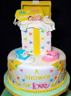 A Shower of Love Gender Reveal Cake