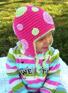 Crochet Hat Girls and Baby Crochet Hat Hot Pink by Snugglebugkidz, $28.00