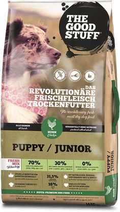 The Goodstuff Puppy & Junior Chicken/ Huhn Glykämischen Index, Good Things, Puppies, Chicken, Regional, Porto, Premium Dog Food, High Quality Dog Food, Meat