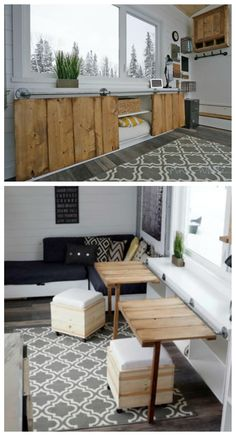 Concept Rustic Modern Tiny House [Plans + Sources] Open Concept Rustic Modern Tiny House Photo Tour and Sources Modern Tiny House, Tiny House Living, Tiny House Plans, Tiny House Design, Kitchen Table With Storage, Table Storage, Diy Kitchen, Kitchen Cabinets, Kitchen Ideas