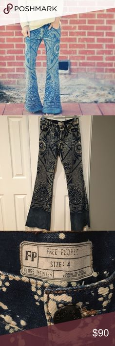 Free People Bali Flare Jeans DESCRIPTION: Discharge Bali Flare Denim Jeans, Made in Bali, Balinese hand-printed distressed denim flares. 5-pocket style. Bottom hem is raw edge and frayed. NOTES: Perfect Condition, Worn Once Free People Jeans Flare & Wide Leg