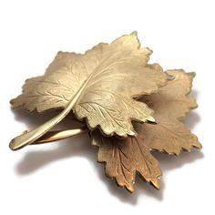 Vintage Fall Leaf Gold Tone Brooch by VintageVybe on Etsy