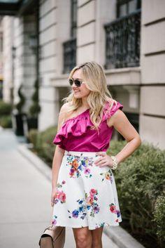 Fuchsia Tank + Floral Skirt   bows & sequins