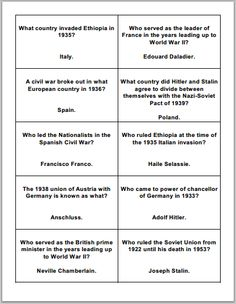 Free printable sheet of ten flashcards on the build-up to World War II. Grades 9-12.