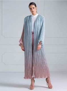 Abaya comes in organza cotton, pleated and dye fabric it is in 2 shades of colors grayish sky blue Blue Abaya, Designer Party Wear Dresses, Casual Looks, Smart Casual, Pleated Fabric, Modest Wear, Abaya Fashion, Kaftans, Abayas