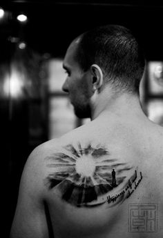 """Cool sunrise tattoo says """"Happiness only real when shared"""" (Krakauer - Into the Wild). I would get: """"Even the darkest night will end and the sun will rise"""" Les Mis Sun Rays Tattoo, Sunrise Tattoo, Sunset Tattoos, Cloud Tattoo, Time Tattoos, Body Art Tattoos, Sleeve Tattoos, Cool Tattoos, Tatoos"""