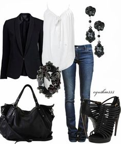 Dark blue skinny jeans. White, flowy top. black strappy heels. Black earrings. Black bracelet. Black bag. Cute outfit dressed up OR dressed down..