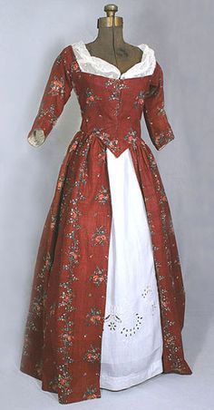 American cotton print open robe, c.1790, from the Vintage Textile archives.