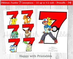 Pokemon GO Number 7 Centerpieces Pokeballs Centerpieces | Etsy Pokemon Table, Pokemon Decor, Pokemon Party, Pokemon Birthday, Pikachu, Pokemon Number, Pokemon Go Images, Number 7, Birthday Numbers
