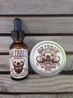 Grizzly Brand Beard Tonic / Beard Oil and Mustache Wax Set