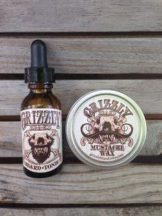 Grizzly Brand Beard Tonic / Beard Oil and Mustache Wax Set