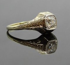 Engraved Band 14K Two-Tone Art Deco Mine Cut Diamond Engagement Ring - RGDI126P via Etsy