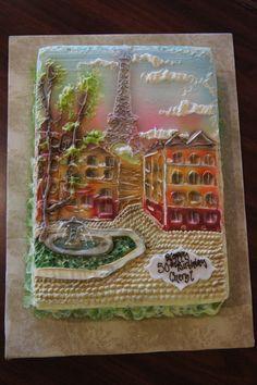 Intricate painted look Paris themed sheet birthday cake
