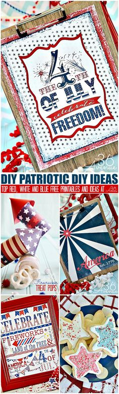 Fourth of July Top Free Printables and DIY Patriotic Ideas at the36thavenue.com Pin it now and make them later! Patriotic Crafts, Patriotic Party, Patriotic Decorations, 4th Of July Celebration, 4th Of July Party, Fourth Of July, Summer Crafts, Holiday Crafts, Holiday Fun
