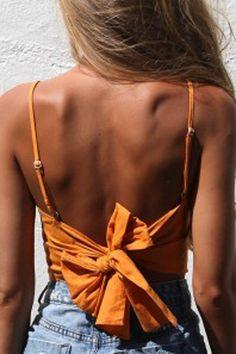 f0cc372088b5e Orange Spaghetti Straps Bow Decor Sleeveless Sexy Crop Top  033460   Sexy Crop  Tops