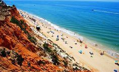 Praia da Falésia's coloured cliffscape make for picturesque strolling. Rent a beautiful villa for holidays in Algarve htt://cabanabranca.com